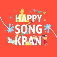 Songkran Thailand water splashing festival celebration vector illustration