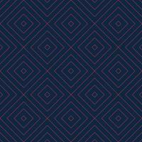 Vector seamless geometric pattern with red linear rectangle grid texture on navy blue background