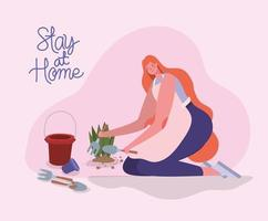Stay at home banner with woman planting at home vector