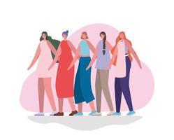 women avatars cartoons vector design