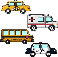 Conjunto de coches de servicio público perfecto para proyectos de diseño. vector