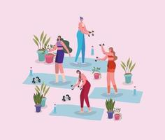 Women working out with potted plants vector