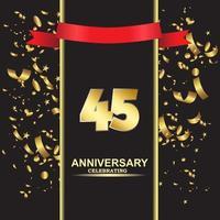 45 Year Anniversary Vector Template Design Illustration