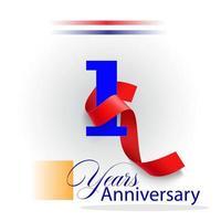Ilustración de diseño de plantilla de vector de celebración de aniversario de 1 año