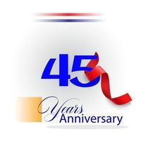 45 Year Anniversary celebration Vector Template Design Illustration
