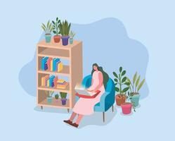 Woman working from home vector