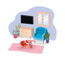 mujer trabajando en casa vector
