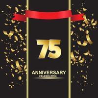 75 Year Anniversary Vector Template Design Illustration