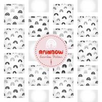 Rainbow pattern, black and white hand-drawn arc doodle digital paper, abstract rainbows background, the monochrome band of color vector wallpaper, cute bow decorative element