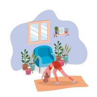 Woman working out at home vector