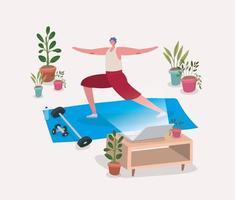 hombre haciendo yoga en casa vector