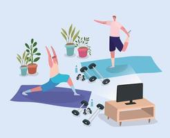 Men working out at home vector