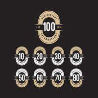 100 Years Anniversary Celebration Number Text Vector Template Design Illustration
