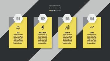 Plantilla de infografía de negocios o marketing con paso.