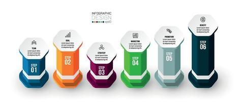 Plantilla de negocio de infografía con paso u opción. vector