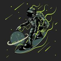 Ilustración de vector de astronauta de surfista espacial. Grabado tipo genial en tabla de surf espacial surfeando entre estrellas planetas galaxias. bueno para impresiones de camisetas, carteles y otros usos
