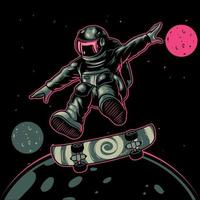 Astronaut playing skateboard cartoon vector icon illustration. A sport cosmonaut with skateboard on the space between stars planets galaxies. Good for poster, logo, sticker, or apparel merchandise.
