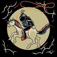 Astronaut riding a unicorn on the moon cartoon character vector flat illustration. Magic space cosmonaut with fairytale animal. Print for t-shirts and another, trendy apparel design.