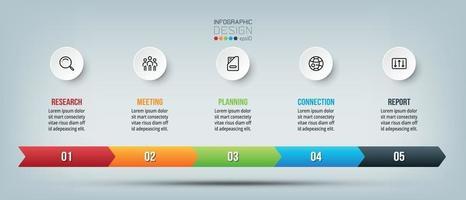 Gráfico de infografía de línea de tiempo empresarial con paso u opción. vector
