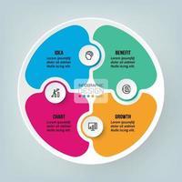 Diseño de plantilla de negocio de rompecabezas infográfico. vector