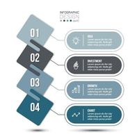 4 step process work flow business infographic template. vector