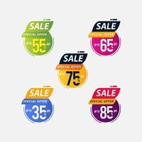 oferta especial de venta hasta 35 55 65 75 85 de descuento solo por tiempo limitado ilustración de diseño de plantilla vectorial