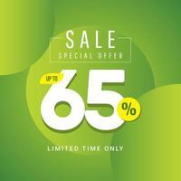 Oferta especial de venta hasta 65 ilustración de diseño de plantilla vectorial solo por tiempo limitado