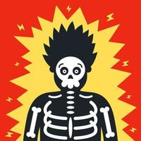 the man was severely shocked. risk at work. the skeleton is visible. flat character vector illustration
