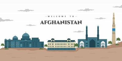 Beautiful building view of Afghanistan with famous landmark. Amazing architectural building for tourist vacation. Vector illustration for tourism presentation, banner, placard or web
