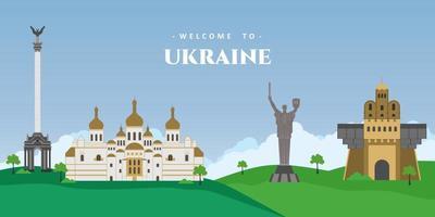 panorama del paisaje de la ciudad en ucrania con atracción turística arquitectónica edificio emblemático. ideal para vacaciones de destino. colección viajes mundiales europa. ilustración vectorial vector