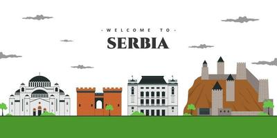 Beautiful city landscape view at Serbia. Architectural building landmarks for tourist visit. Welcome to Serbia postcard. World countries cities vacation travel sightseeing collection. vector