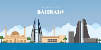 Great panoramic city landscape of Bahrain. Manama skyline with colorful buildings landmark. Welcome to Bahrain postcard. Travel and journey concept of Islamic country. Vector illustration