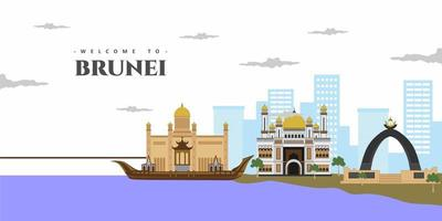 Amazing city landscape view of Brunei architecture skyline buildings landmark. Welcome to Brunei colorful postcard. World countries cities vacation travel sightseeing Asia collection. vector