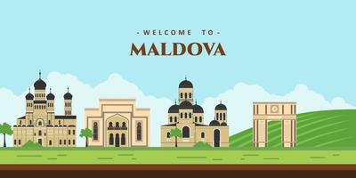 Amazing city landscape view at Maldova with famous building landmark. Best destination for vacation. Welcome to Maldova. World vacation travel sightseeing Europe European collection. vector