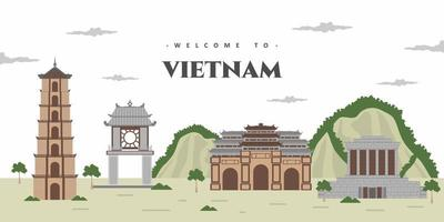 Vietnam  city landscape with historical world famous building landmark. Vietnam Landmarks, frame, travel and tourist attraction. World cities vacation travel sightseeing Asia collection. vector