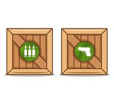 wooden boxes with weapons and ammunition. flat vector illustration.