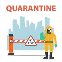 city quarantine due to coronavirus. isolation of people. restriction of movement. flat vector illustration.