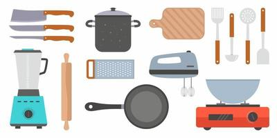 Kitchen utensil design elements set. Cooking and kitchenware modern tools collection isolated on white background. Trendy textures on cartoon kitchen items. Kitchen appliance decorative colorful vector