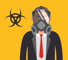 manager in a gas mask. protecting your health from biological weapons. Flat character vector illustration.