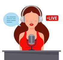 buena chica en auriculares graba podcast en un micrófono. Ilustración de vector de personaje plano