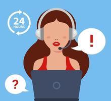 la chica del centro de llamadas responde a la pregunta del cliente. Ilustración de vector de personaje plano.