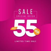 Oferta especial de venta hasta 55 ilustración de diseño de plantilla vectorial solo por tiempo limitado