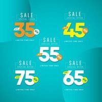 Oferta especial de venta hasta 35 45 55 65 75 Ilustración de diseño de plantilla vectorial solo por tiempo limitado