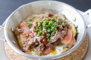 Stir fry dish in a pan