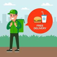 Courier delivers fast food to a customer. flat character vector illustration