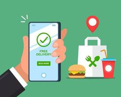 Free fast food delivery via smartphone. flat vector illustration.