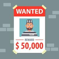 wanted flyer. search for a bandit. flat vector illustration.