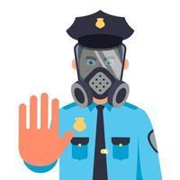 un policía con una máscara de gas muestra una mano de parada. Ilustración de vector de personaje plano.