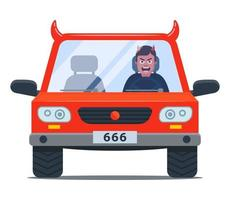 crazy driver in a devil car. aggressive driving. flat character vector illustration