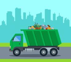 A truck takes out garbage from a city to a landfill. flat vector illustration
